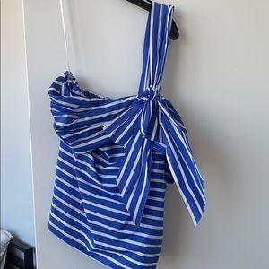 JCREW one shoulder striped top